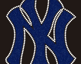 SALE - New York Yankees Glitter & Rhinestone Iron-On Transfer