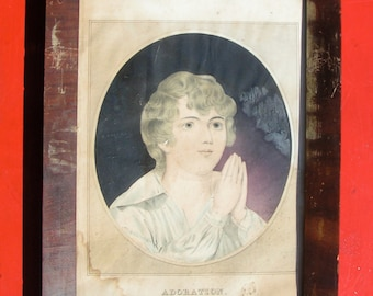 1800s Lithography ADORATION by Kellogg & Hammer Hartford Connecticut