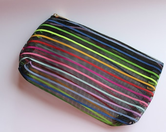 Zippered pouch Organza black multicolor
