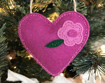 Mulberry Floral Wool Felt Heart Ornament