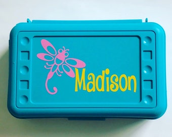 Personalized Pencil Box, Dragonfly, Back to School, School Supplies, Pencil Case, Pencil Box, Bugs Pencil Box, Dragonfly Pencil Box, Insects
