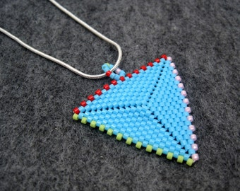 Beaded Pendant Necklace - Peyote Triangle - Turquoise Blue Lime Green Red Pink by randomcreative on Etsy