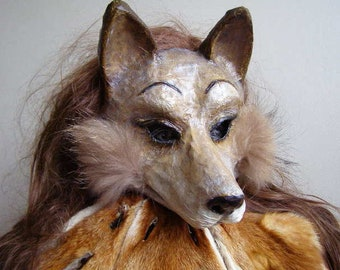 Masquerade mask Fox mask Animal mask Paper mache mask Scary mask Halloween mask Adult mask Carnival mask