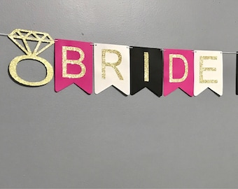 Glitter Bride to Be Banner, Kate Spade Inspired Bridal