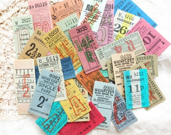 Assorted Vintage Old British UK Ultimate Bus Tickets Single Tickets - Collage and Mixed Media, Vintage Paper Ephemera