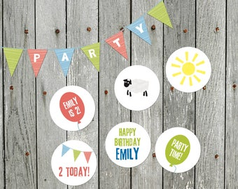 Personalised Farmyard Party Stickers / Napkin Seals / Envelope Stickers / Cupcake Toppers / Pass the Parcel