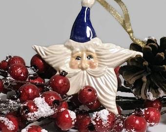 Ceramic Santa Star Christmas Ornament - Dark Blue