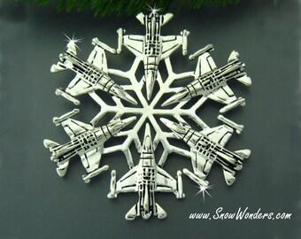 USAF F-16 SnowWonders® Snowflake Ornament/Pendant, USAF Graduation Gift, Military Ornament, Package Decoration, Window Decor (#JPEW5428)
