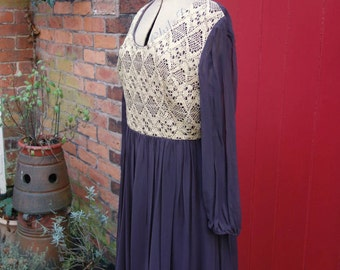 1970s maxi dress | 70s brown and gold dress | vintage chiffon dress by Mademoiselle