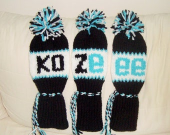 Personalized golf club headcovers Knit head covers custom knitted - golf lover birthday gift - made to order - choose colors - kozeee