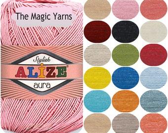 ALIZE AURA, summer yarn,crochet yarn,sport weight,light,4ply,IRISH crochet lace,crochet thread,Tatting thread,Needlpoint Cross stitch