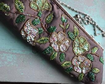 Vintage Brown Silk Floral Beaded Bag