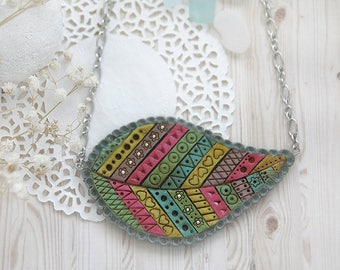 Autumn leaves necklace Stripe jewelry Geometric necklace Colorful bib necklace for women gift for mother Big necklace Statement jewelry gift