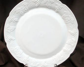 Mid-century Indiana Glass milk glass chop plate in their Harvest Grape pattern