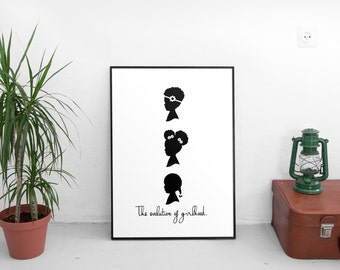 African american print, afro puffs print, little black girls print, black art