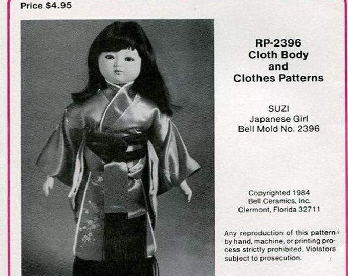 "FREE usa SHIP Bell Ceramics 2396 15"" Cloth Body & Clothes Pattern Suzi Japanese Girl 1984 Craft Out of Print Old Store Stock Sewing Pattern"