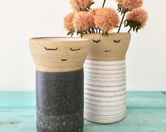 Bride Groom Gift, Ceramic Vase, Flower Vase, Stoneware Vase,  Wedding Gift, People Vase