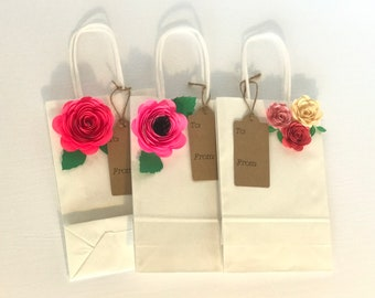 Pink Flower Gift Bag Set | Gift Bags |  Flower Embellishment |