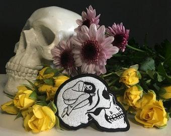Death Wish Skull Patch / Sad Girl Skeleton Dark Goth Tattoo Art / Black and White / Emroidered Jacket Patch
