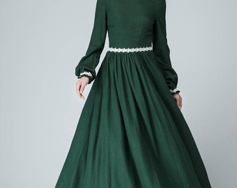 Prom dress, linen dress, white lace dress, Green Dress, women dress, linen maxi dress, long sleeve prom dress, women linen dress  1464