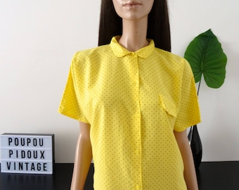 Vintage 80's yellow Peter Pan collar with polka dots blouse size M