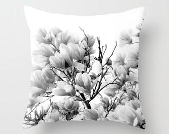 Velveteen Pillow - Magnolia Tree Pillow - Flower Pillow - Cottage Decor - Boho - Cottage Pillows - Black and White Pillow - Flowers