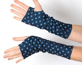 Blue arm warmers, Floral armwarmers, Blue fingerless gloves, Floral fingerless gloves, Gift for her, Stocking stuffers, MALAM