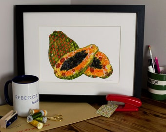 Art Print | Textile Art | Papaya | Free Motion Embroidery