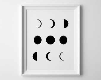 Moon Phases Print, Moon Print, Moon Phases Wall Art, Moon Phase Art, Moon Wall Art, Moon Phases Poster, Moon Phase