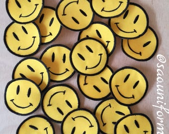 Apply Emoji embroidered patches happy face. Preference size We are manufacturers
