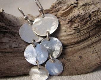 Dangle Sterling earrings, Lightweight earrings, Classic earrings, Brushed Sterling Earrings, Circle Earrings, Sterling Earrings,