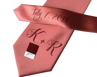 Personalized Wedding Ties. Custom Initials w/ Pretty Script handwritten font. Monogram name tie. Add wedding date/message on tie tail too!