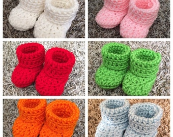 8 Colors Baby Booties Crochet Handmade Size 0-3 Months