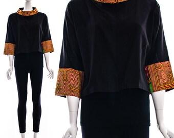 Black Linen Jacket Cropped Tribal Jacket Ethnic Orange TAPESTRY Bolero Woven Bell Sleeves Boho Chic Bohemian Cropped Jacket Small Medium