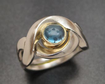 Puzzle Ring with Blue Topaz