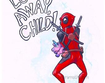 Unicorn Funny Illustration 'Look Away, Child!' - 11x14 inch print