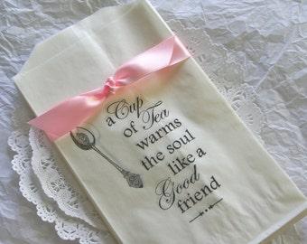 25 Glassine Bags, Friendship Tea Time Favor Bags