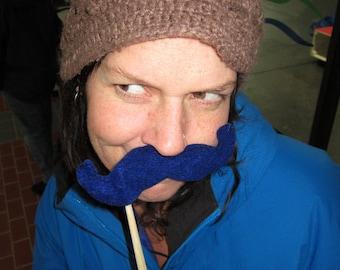 Upcycled Steampunk Felt Handlebar Mustache on a Stick Set of 5 (Royal Blue) - Movember Movement
