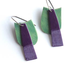 Statement earrings, geometric, tropical colors, abstract, colorful jewelry, summer earrings, art jewelry earrings