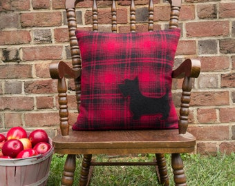 Scotty Dog, Farmhouse Pillow, Wool, Tartan Pillow, Scottish Terrier, Red, Black, Upcycled, Organic Pillow, 14 X 14