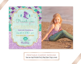 Mermaid Thank you, Under the sea Thank you, Purple Gold TealThank you, Mermaid 1st Birthday, Photo thank you card, Printable DIY