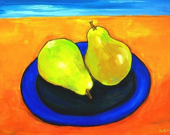 Mediterranean pears- Still Life - Print Shelagh Duffett