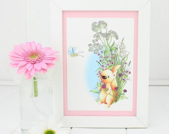 Baby Girl Nursery Wall Art Meadow Squirrel Framed Postcard, Mothers Day gift Girls Wall Art Girls Birthday Gift Girls, baby girl shower gift