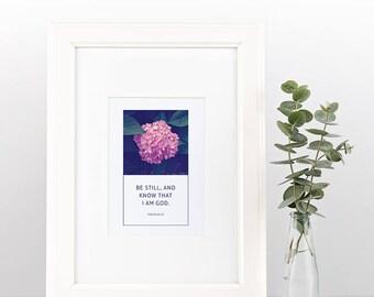 Psalm 46:10   Simple, Beautiful Scripture Print   Instant Download   Digital Print   Framed Art   Wall Art   Christian Inspiration