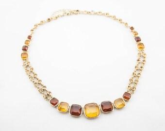 Vintage Gold Tone Yellow Brown Crystals Rhinestones Short Crystal Necklace