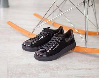 Converse style hand made suede and lacquered leather shoes