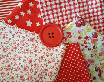 red fat quarters/7 fat quarter bundle /cotton/red/stars/spots/stripes/floral/check/ light weight/craft fabric/doll's/craft