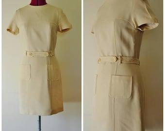 vintage 90s does 60s beige mini dress S M short dress