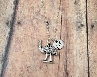 Emu initial necklace - emu jewelry, Australia jewelry, bird jewelry, silver emu necklace, Australia necklace, silver emu necklace