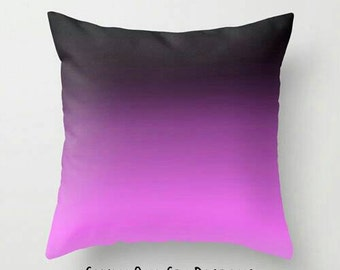 Pink Black Pillow, Pink Bedding, Pink Ombre Pillow, Pink Gradient Pillow, Pink Toss Pillow, Pink Pillow, Pink Black Decor, Pink Black Room